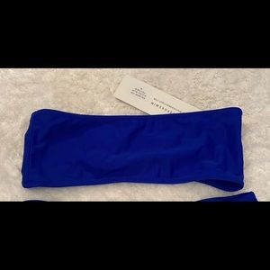 blue strapless bikini top